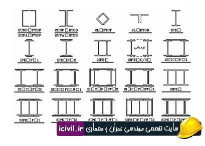 مقاطع فولادی ایرانی etabs