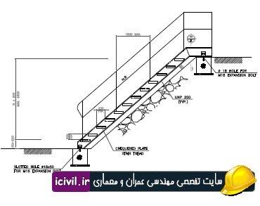نقشه اتوکد پله فلزی صنعتی