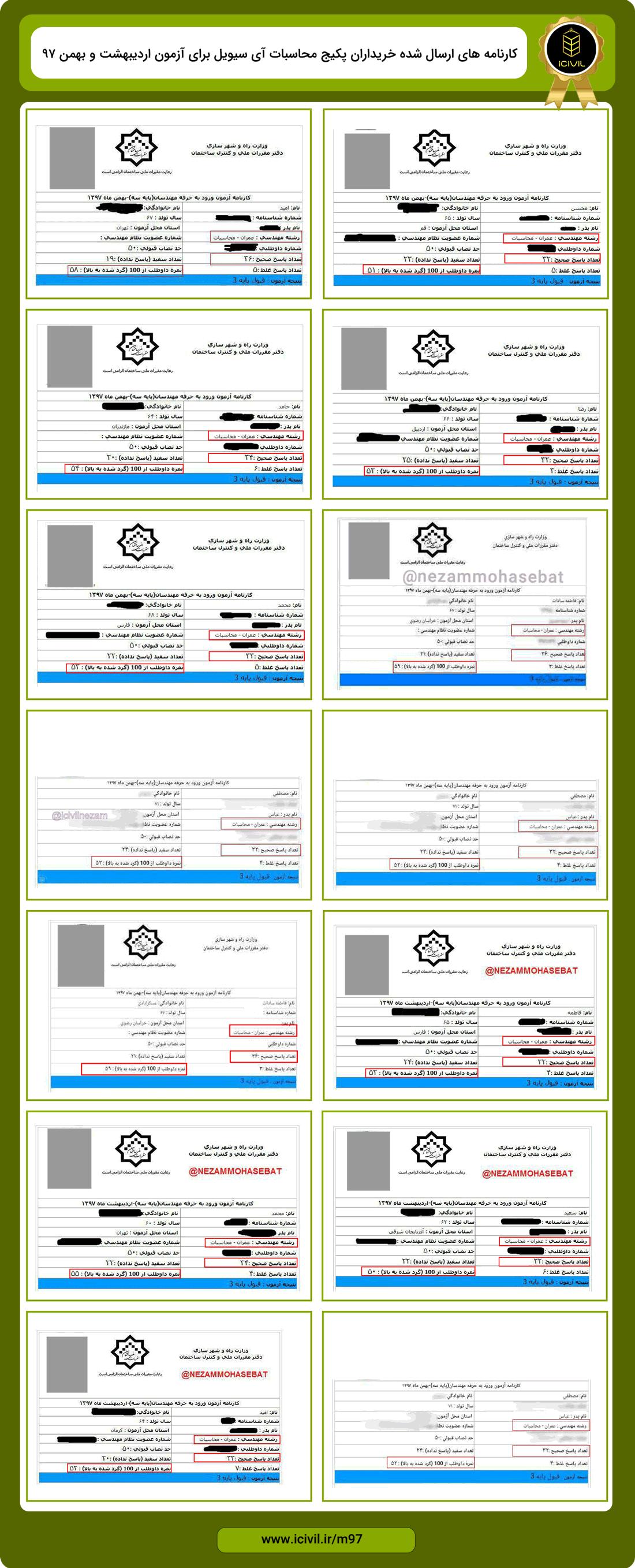 قبولی آزمون محاسبات عمران