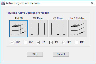 مقید کردن درجه آزادی RZ و UY