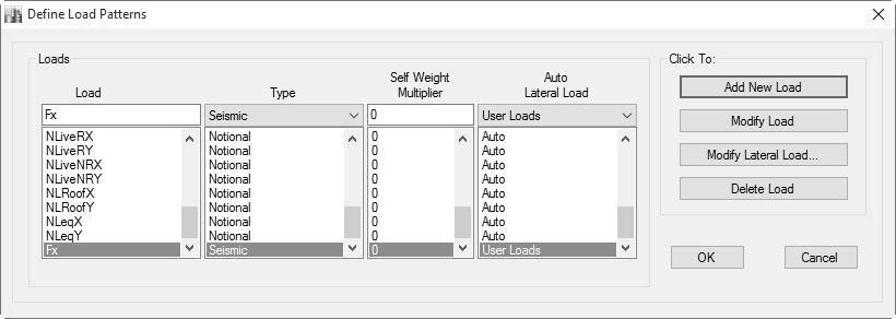 پنجرۀ معرفی الگوی بار Fx جهت محاسبه سختی طبقات در راستایX